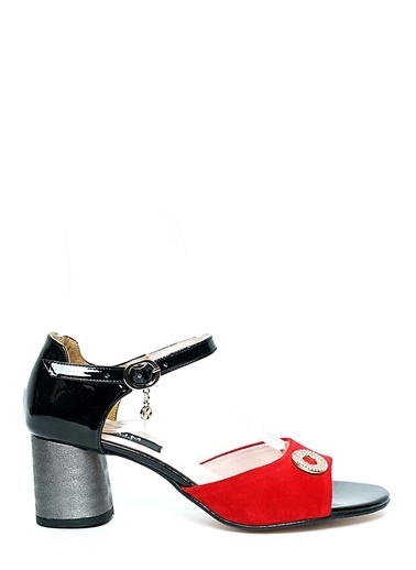 Kuum Kalın Topuklu Ayakkabı Kırmızı